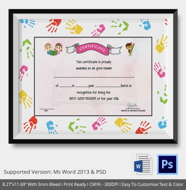 Good Reader Award School Certificate Template