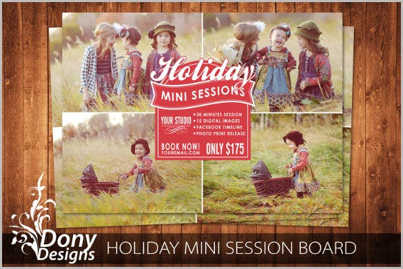 holiday mini session template photography marketing board photoshop template