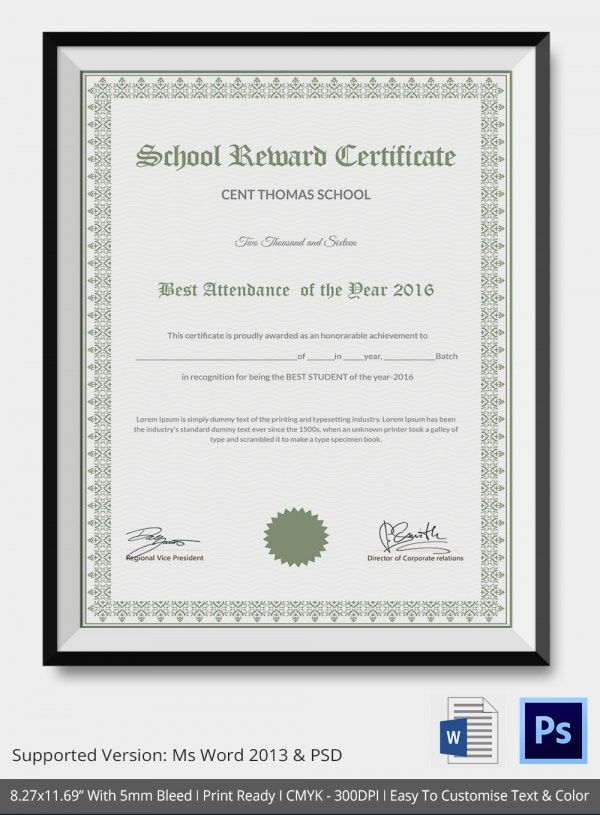 School Reward Success Certificate Template