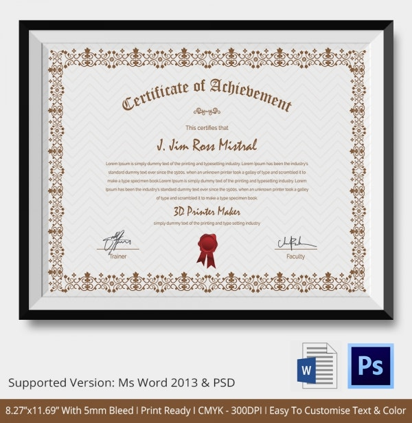 Certificate of Achievement Template