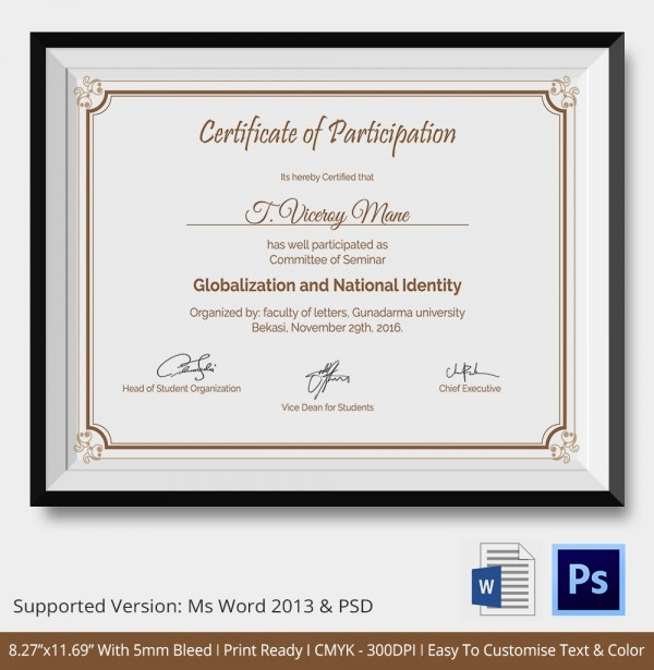 participation certificate template 14 free word pdf