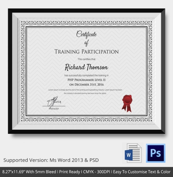 participation certificate template 14 free word pdf With training participation certificate template