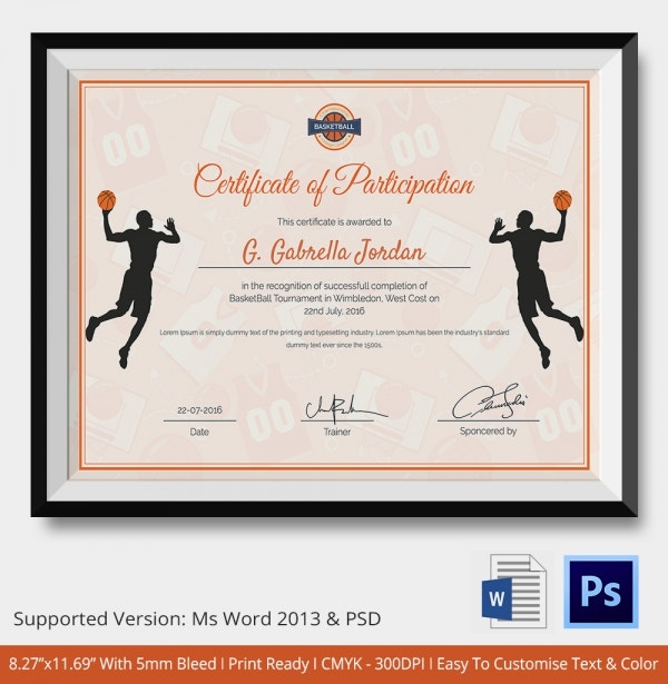 Template for Basketball Participation Certificate