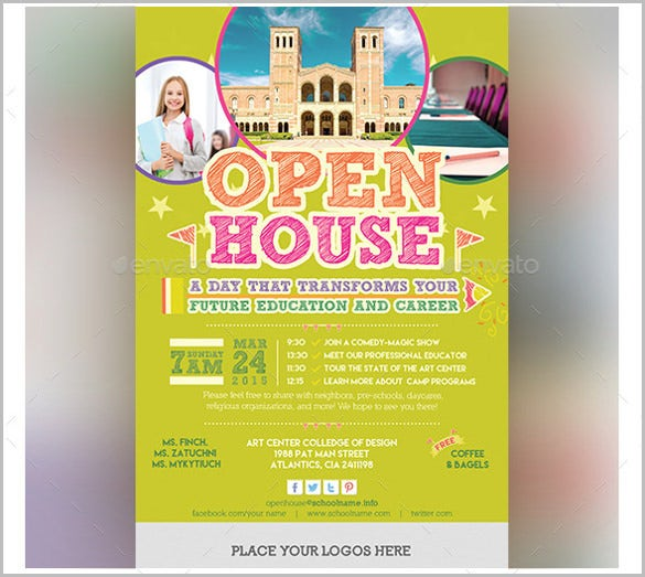 yellow open house invitation