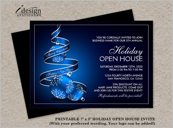 corporate christmas open house invitation