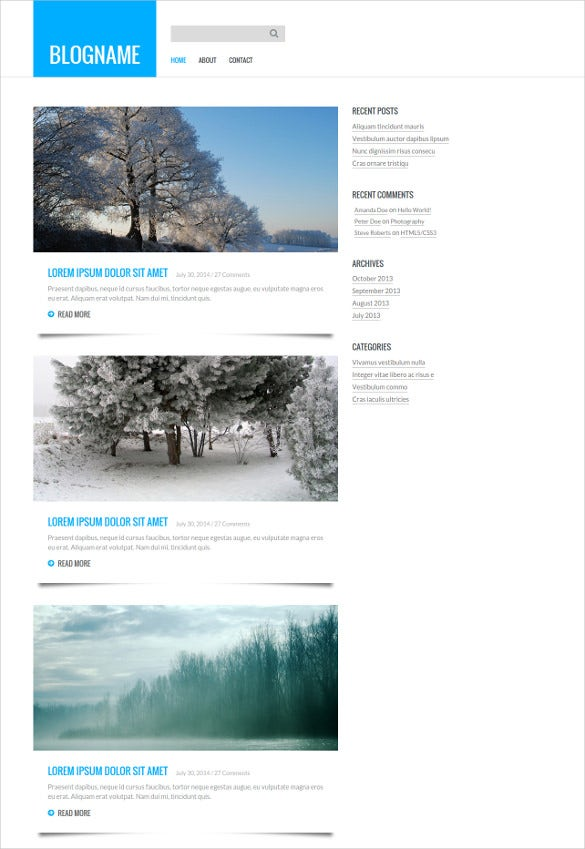 free responsive personal blog mobile template