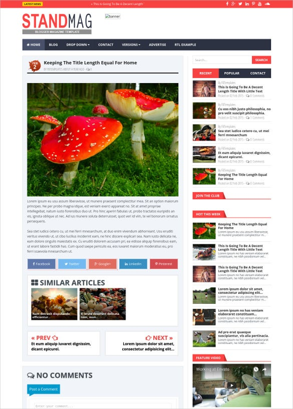 premium blogger mobile template