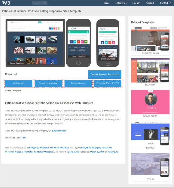 flat personal portfolio mobile blog psd template