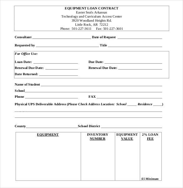 Equipment Loan Contract Form  Loan Form Template