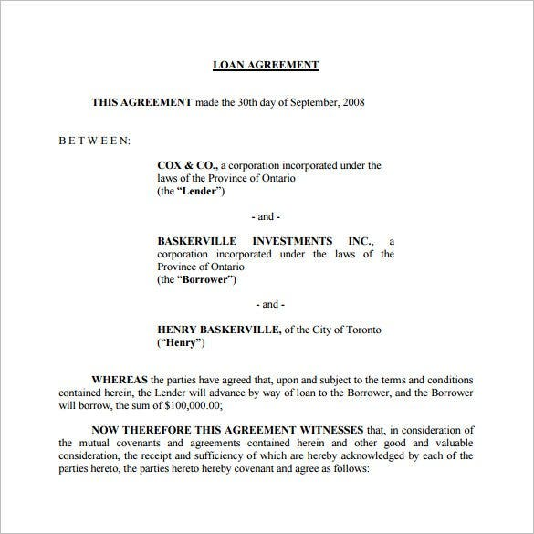 Attractive Free Download Loan Agreement Template