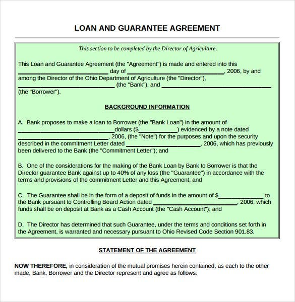 Guarantee Loan Agreement Form Template  Cash Loan Agreement