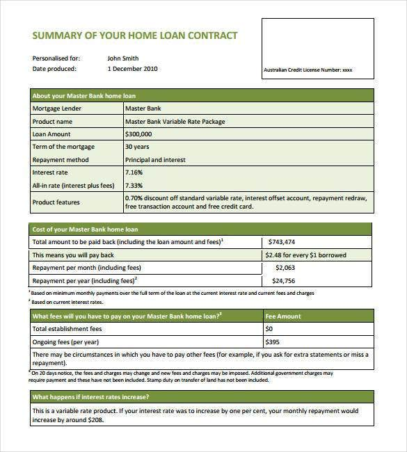 Home Loan Contract Template  Loan Templates