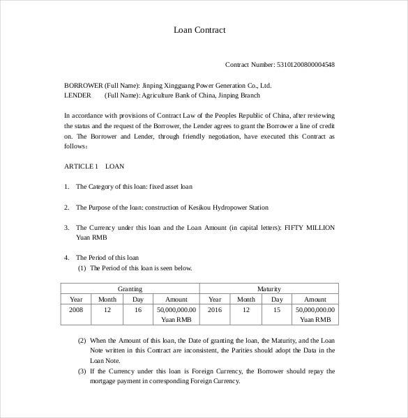Loan Contract Template   Examples In Word Pdf  Free  Premium