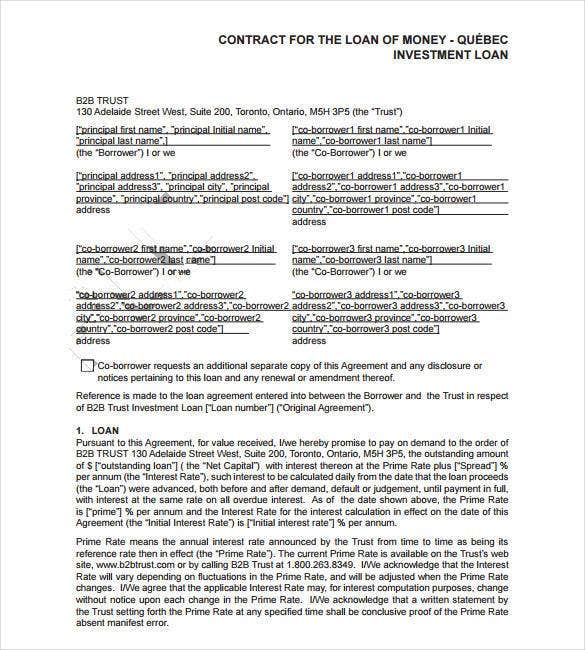 Lending Money / Cash Loan Contract Template Free  Investor Contract Template Free