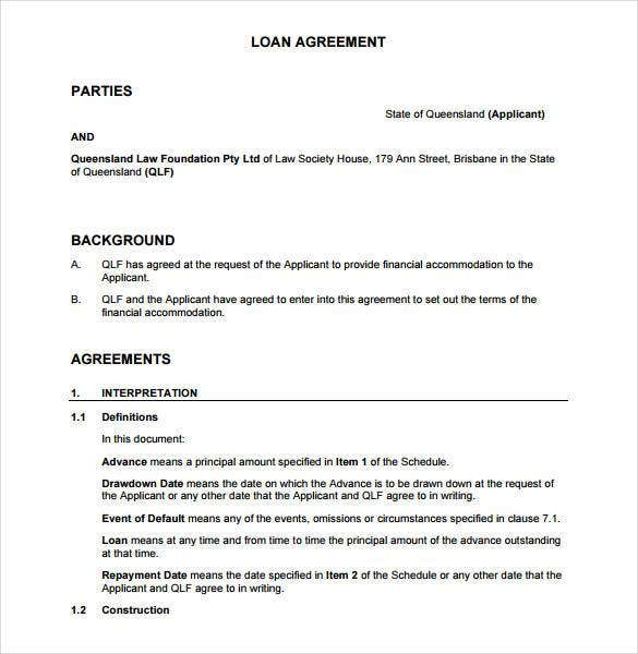 Sample Loan Agreement Contract Between Two Parties