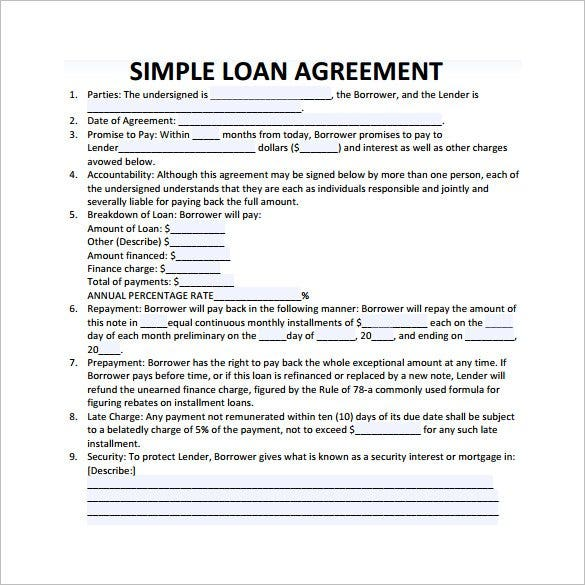 Exceptional Simple Loan Contract Template  Loan Templates