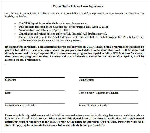 Travel Study Private Loan Agreement Contract