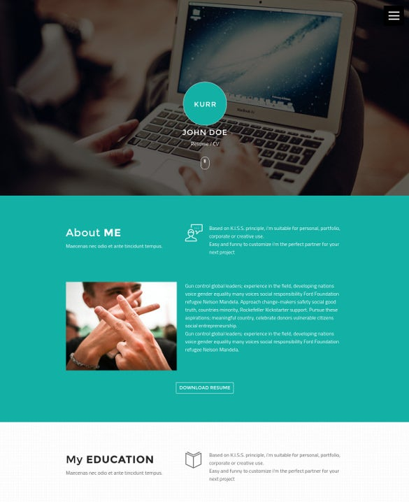 personal resume portfolio foundation theme