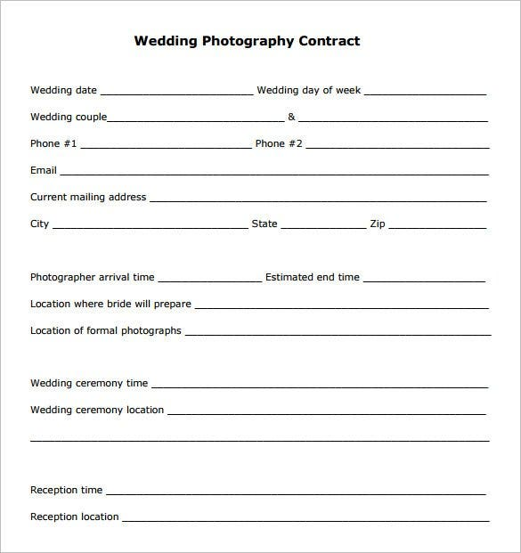 Free Photography Contract Templates  PetitComingoutpolyCo