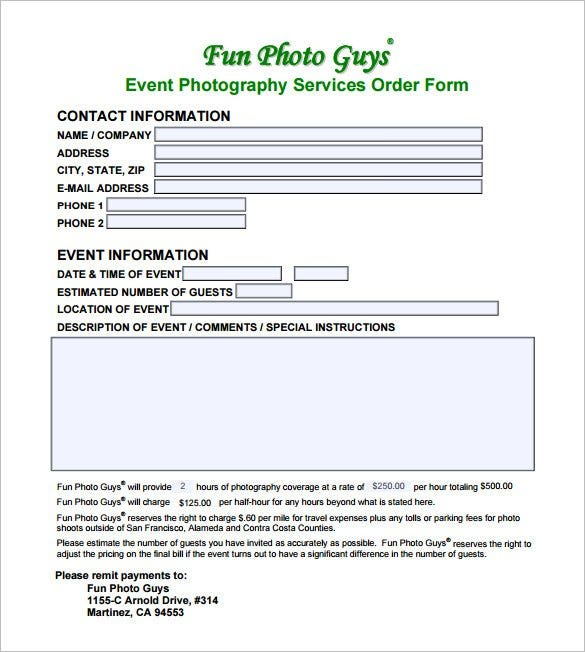 Example Event Photography Contract PDF Download