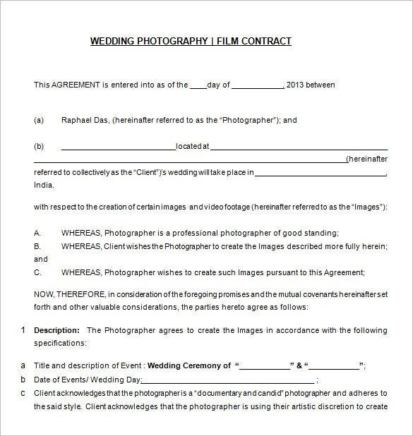 free download wedding photography contract template