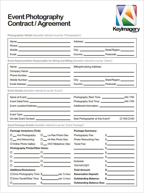 Event Contract Template Event Contract Template Format Sample