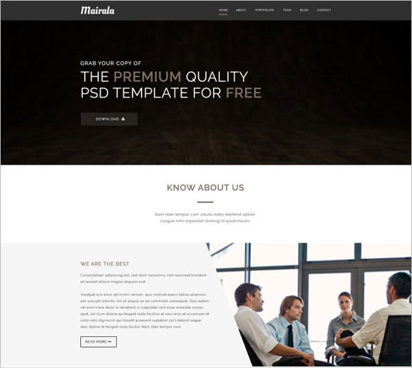simple one page corporate agency psd template free download
