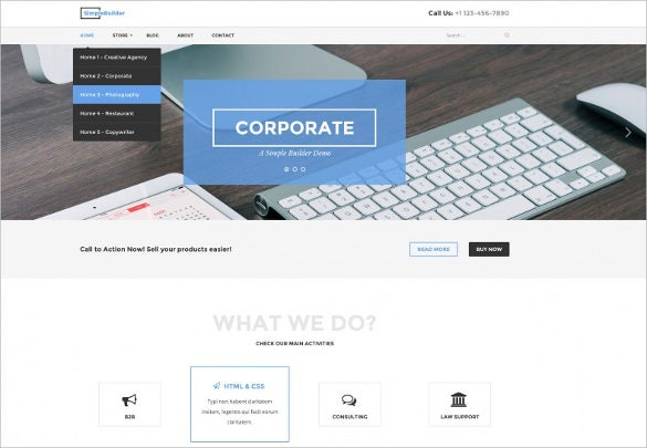 latest bootstrap psd template for corporate business