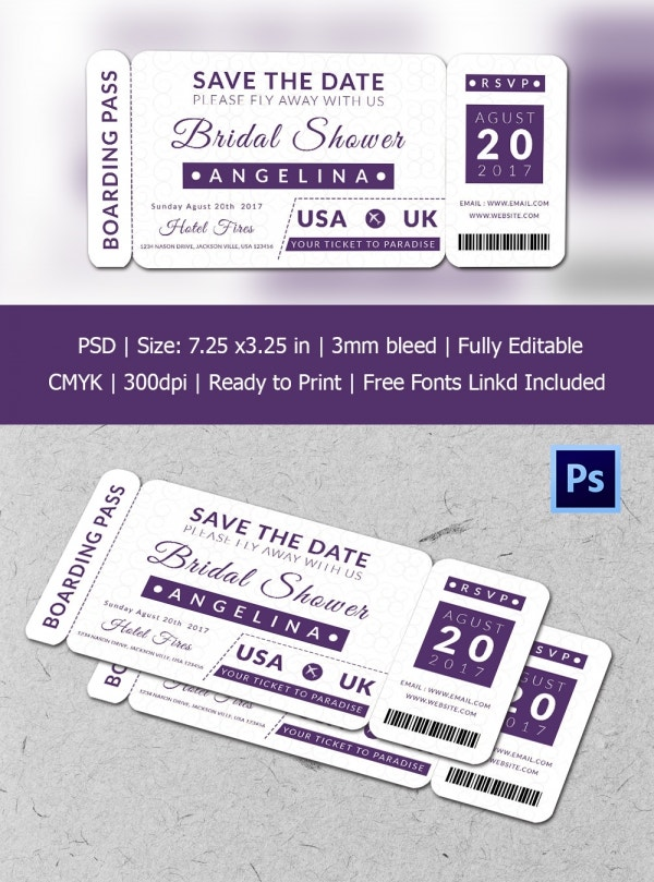 Bridal Shower Boarding Pass