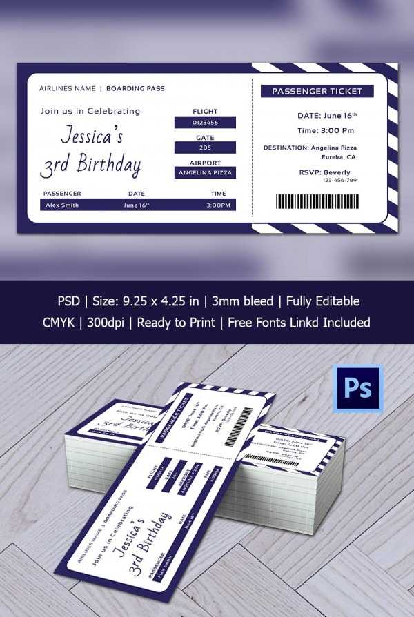 Modern Birthday Boarding Pass Template