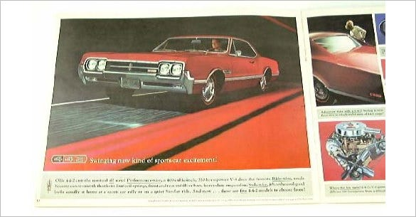 1966 66 olds oldsmobile sports brochure