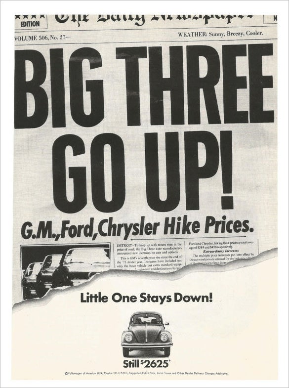 1974 volkswagen advertisement newspaper headline
