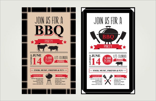 2 barbecue invitations