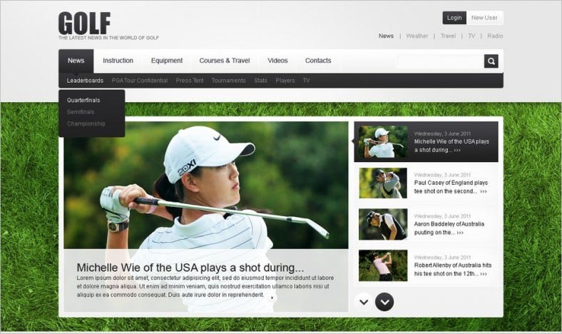 2 Columns Golf PSD Website Template