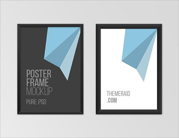 2 free poster frame psd mockup template