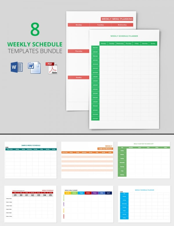 8 Best Weekly schedule Templates Bundle Bundle
