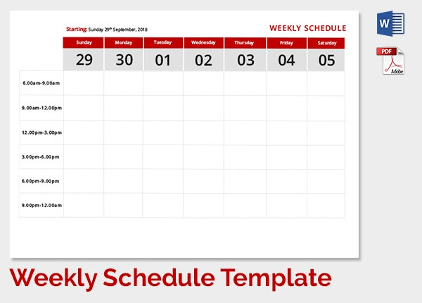 Weekly Work Schedule Template   Free Word Excel Pdf Format