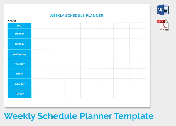Weekly Schedule Template   Free Word Excel Pdf Download