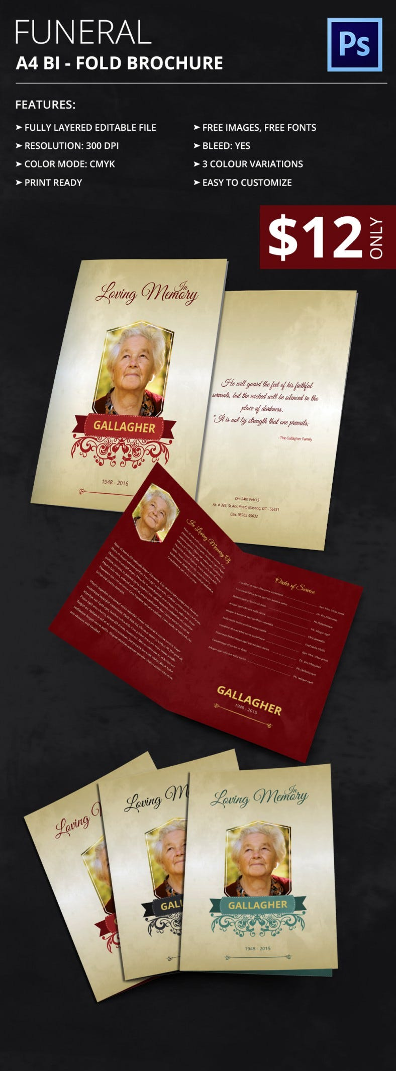 35 Funeral Program Brochure Templates Free Word PSD PDF