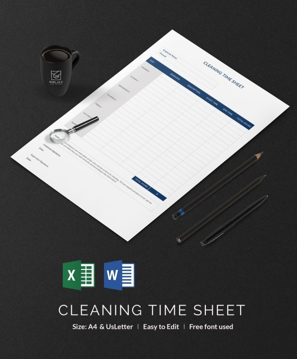 Cleaning Time Sheet Template