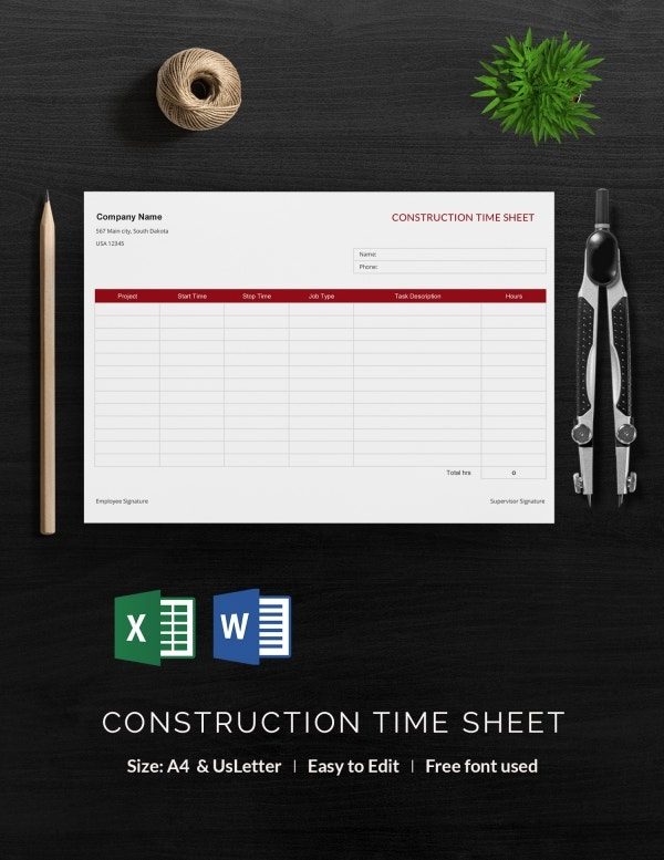 Construction Time Sheet Template