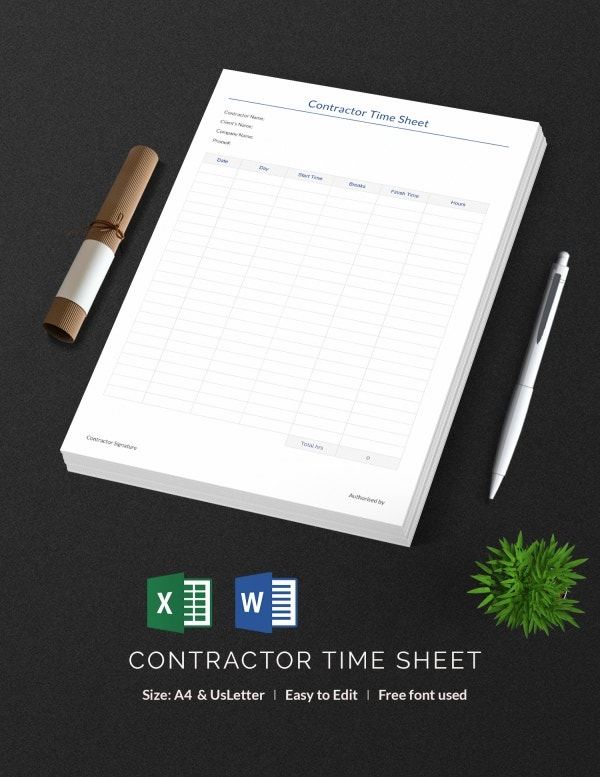 Contractor Time Sheet Template