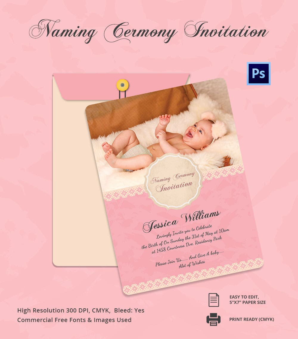 Cute Baby Naming Ceremony Invitation Template