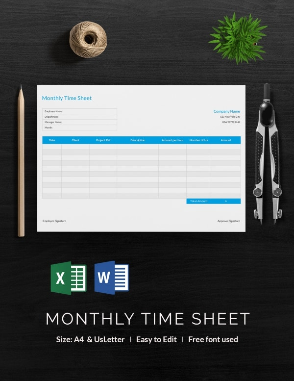Timesheet Templates  Free Excel Doc Pdf Download  Free