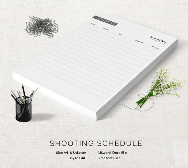 Editable Shooting Schedule Template