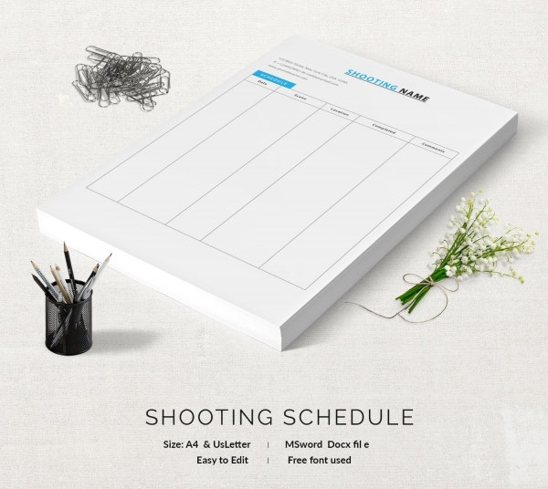 Shooting Name Schedule Template