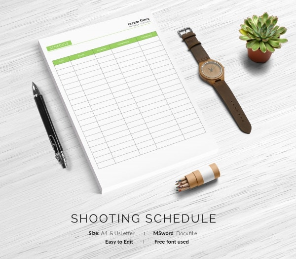 Films Shooting Schedule Template
