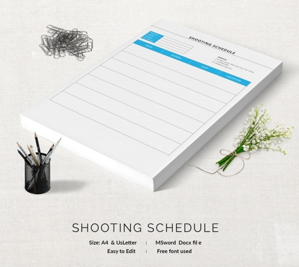 Easy Editable Shooting Schedule Template