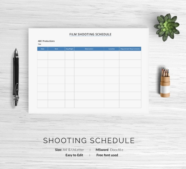 Printable Film Shooting Schedule Template