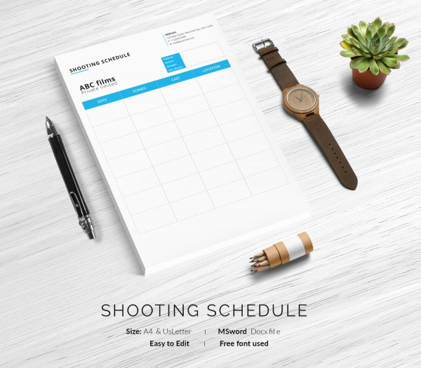 Sample Films Shooting Schedule Template